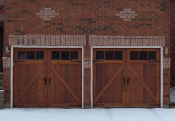 Two Custom Wood Doors - With Windows and Hardware