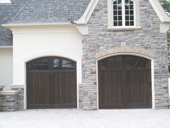 Two Dark Custom Wood Doors - With Arch