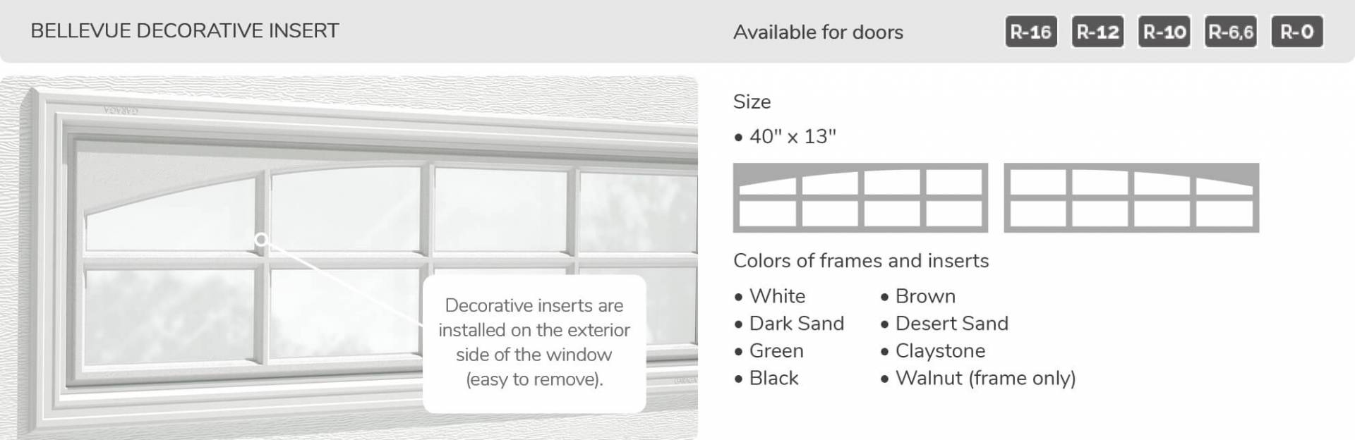 Bellevue Decorative Insert, 40' x 13', available for doors: R-16, R-12, R-10, R-6.6, R-0